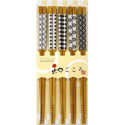 Set di 5 bacchette giapponesi in legno naturale - KURASHIKKU