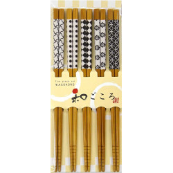 Set of 5 Japanese chopsticks in natural wood - KURASHIKKU