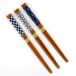 Set of 3 Japanese chopsticks in natural wood - AOI