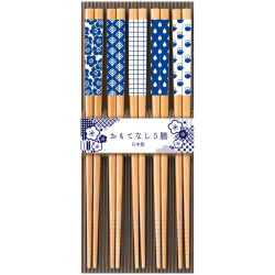 Set of 5 Japanese chopsticks in natural wood - CHORIZUMI