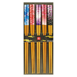 Set of 5 Japanese chopsticks in natural wood - SAKURA