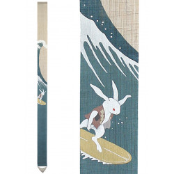 Fine Japanese tapestry in hemp, hand painted, NAMINORI USAGI