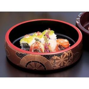 vassoio rotondo in resina nera per sushi, GOSHOGURUMA, ruota