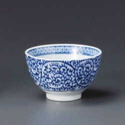 tea cup with blue patterns blue TAKO-KARAKUSA SENCHA