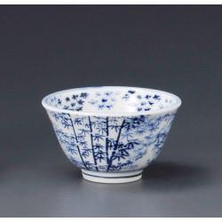 japanese white teacup bamboo patterns CHIKURIN