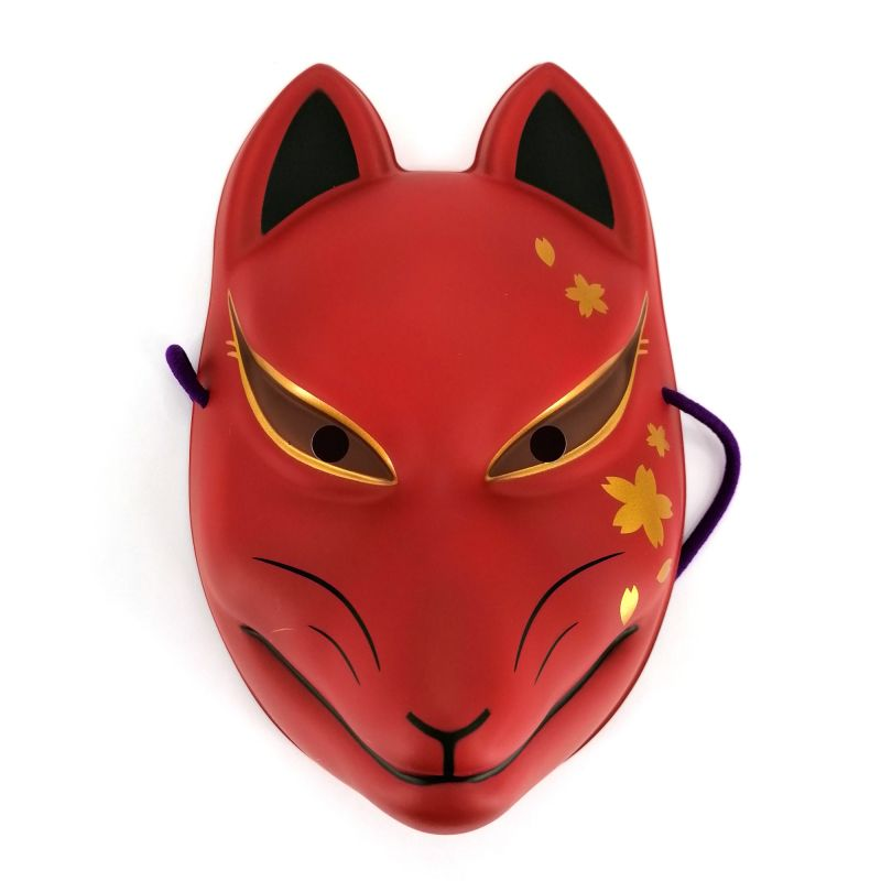 Traditional Japanese fox mask, KITSUNE, red and cherry blossoms