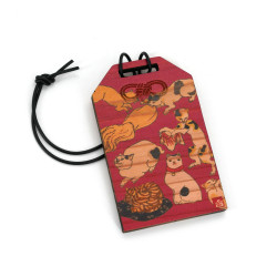 Japanese wooden amulet - NEKO, made in Japan