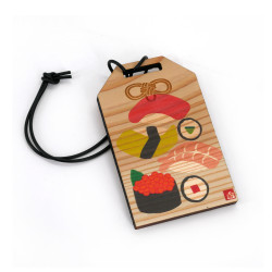 Japanese wooden amulet - SUSHI, made in Japan