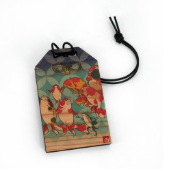 Japanese wooden amulet - SAKANA, made in Japan
