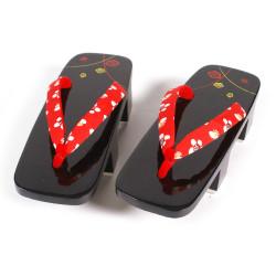 la coppia di zoccoli Geta laccati giapponesi, UME 5