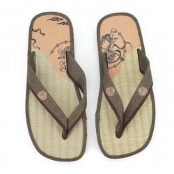pair of Japanese sandals - Zori straw goza for men, FUJIN RAIJIN