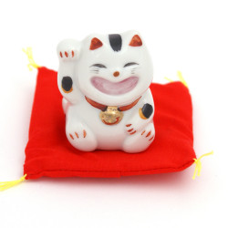 Japanese lucky manekineko cat, ONEGAI, blue