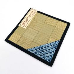 Sottopentola / teiera quadrata in tatami 16 x 16 cm, AOMI, motivo blu casuale