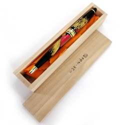 Ballpoint pen, black in wooden box, mount fuji, KUROFUJI