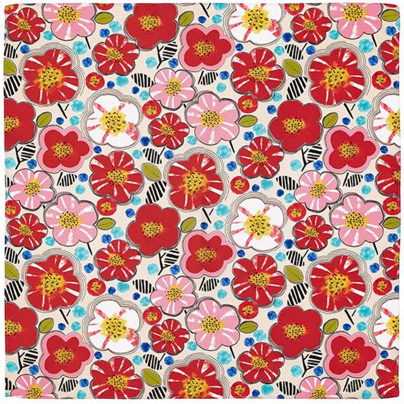 Japanese polyester furoshiki, UME, white