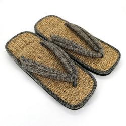 pair of Japanese sandals zori seagrass, DENIM, Grey
