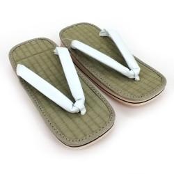paio di sandali zori giapponesi, ZORI WH, bianchi
