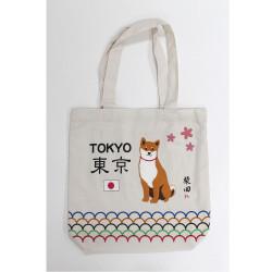 Japanese white cotton A4 size bag, TOKYO, Shiba