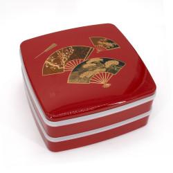 Large jyubako lunch box, MIYABI, red