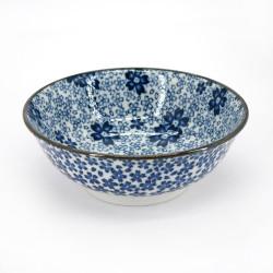 japanese noodle ramen bowl, HANA, blue flowers