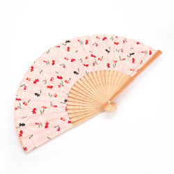 Japanese pink paper and bamboo fan with case, SAKANA, fish