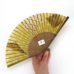 Japanese fan in silk and bamboo with case, MOMIJI, autumn leaves