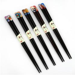 Set of 5 Japanese chopsticks in natural wood - WAKASA NURI TENKEZURI