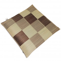 square pattern rice straw mat cushion - Heihō 55x55cm