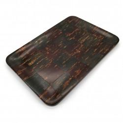 Rectangular cherry bark tray, DAMIER