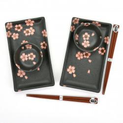 set japonais 2 assiettes et bols avec motifs de fleurs et paires de baguettes SAKURA NO MAI