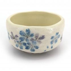 Ciotola da tè giapponese per cerimonia, SAKURA, blu