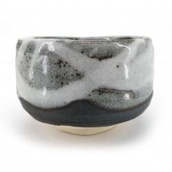 Ciotola da tè giapponese per cerimonia, SHINYUKI, bianco e grigio