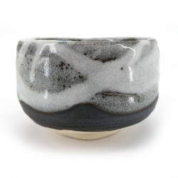 Japanese tea bowl for ceremony, SHINYUKI, white and grey