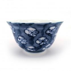 japanese blue teacup in ceramic UME blue flowers