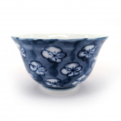 tasse bleue japonaise UME en céramique fleurs bleues