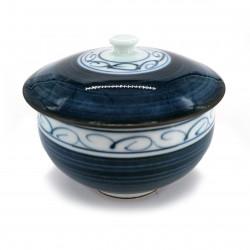 Bol à thé japonais Chawanmushi avec couvercle HIDAMARI fleurs bleues