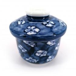 Bol à thé japonais Chawanmushi avec couvercle UME, fleurs de prune