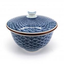 Tazza da tè giapponese con coperchio Chawanmushi, blu SEIGAIHA onde