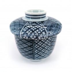 Tazza da tè giapponese con coperchio Chawanmushi, AOJIRO, blu