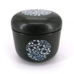 Tazza da tè giapponese con coperchio nera, SAKURA MOMIJI, fiori di ciliegio