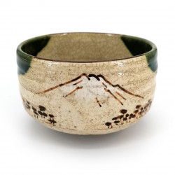 Japanese tea ceremony bowl - chawan, FUJISAN, green and brown