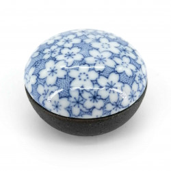 japanese small black box in ceramic Ø4,7cm wave patterns SEIGAIHA