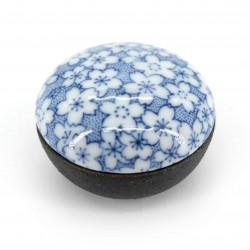 piccola scatola nera pillbox ceramica, SAKURA, fiori