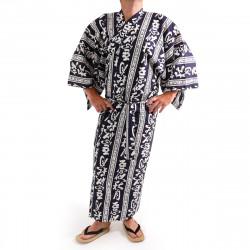 yukata kimono giapponese blu in cotone, AKI, kanji autumn moon