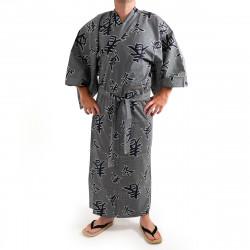 giapponese yukata kimono di cotone grigio-blu, SHIKI, kanji quattro stagioni