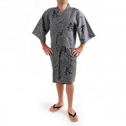 yukata kimono giapponese blu in cotone, SHIKI, kanji quattro stagioni