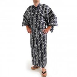 yukata kimono giapponese blu in cotone, CHEN, catena