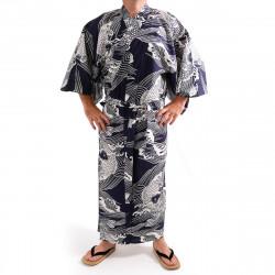 yukata kimono giapponese blu in cotone, KOI, carpa