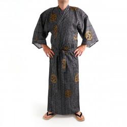 yukata kimono giapponese nero in cotone, KOIN, vecchi pezzi