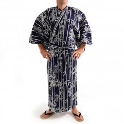 yukata kimono giapponese blu in cotone, RYÛTAKE, bambù e drago